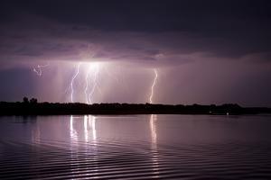 Thunderstorm, Lake Tisza, Hortobagy National Park, Hungary, July 2009 by Radisics
