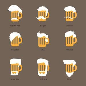 Beer Glass Hipster Character - Barflies. Beer Types Stylized Vector Illustrations. by radoma