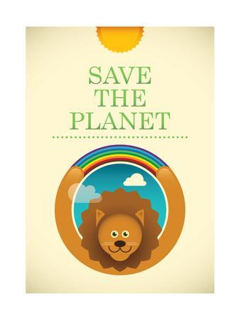 Ecology Poster with Comic Lion. Vector Illustration.
