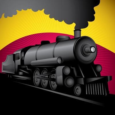 Illustration of Old Stylized Locomotive. Vector Illustration.