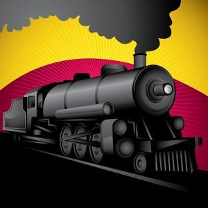 Illustration of Old Stylized Locomotive. Vector Illustration. by Radoman Durkovic
