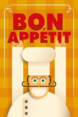 Poster with a Comic Chef. Vector Illustration.