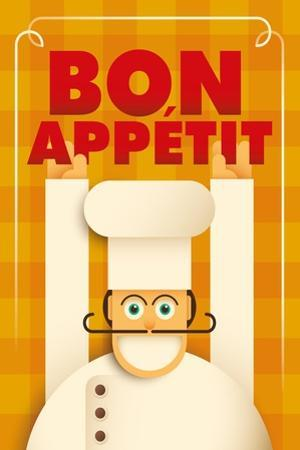Poster with a Comic Chef. Vector Illustration. by Radoman Durkovic