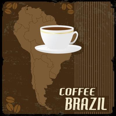 Coffee Brazil Vintage Poster by radubalint