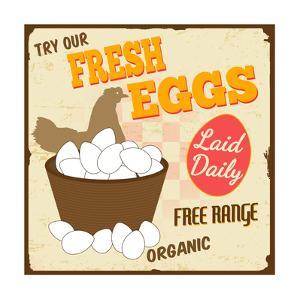 Fresh Eggs Vintage Poster by radubalint
