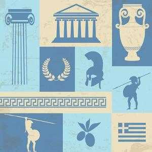 Greece Symbols And Landmarks On Retro Poster by radubalint