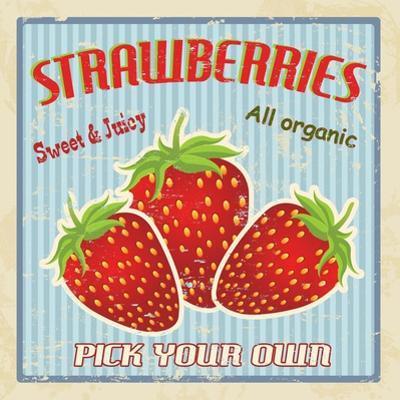 Strawberry Vintage Poster by radubalint