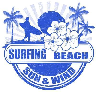Surfing Beach Stamp by radubalint