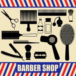 Vintage Barber And Hairdresser Silhouette Set by radubalint