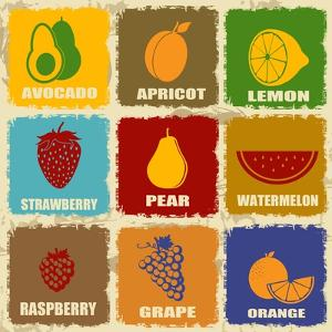 Vintage Fruits Icons by radubalint