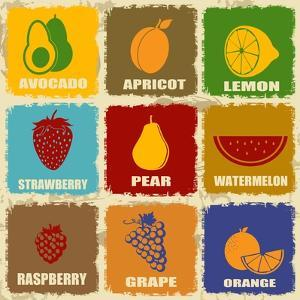 Vintage Fruits Icons by radubalint