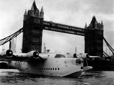 Raf Suderland Flying-Boat Moored Next to Tower Bridge, Thames River, September 1950