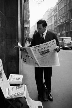 Raf Vallone Reading the Newspaper Corriere Della Sera in the Street