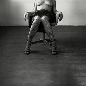 Pentacon Six Camera Shot of Topless Woman in Fishnet Stockings by Rafal Bednarz