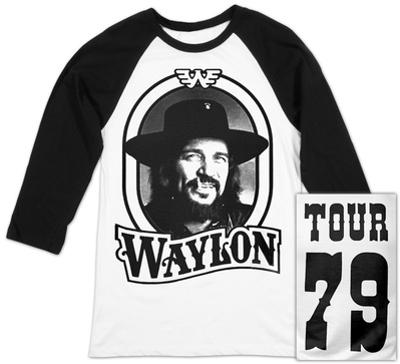 Raglan: Waylon Jennings- Tour 79 Black Logo