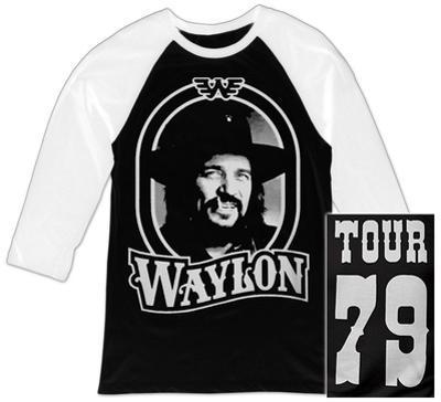 Raglan: Waylon Jennings- Tour 79 White Logo