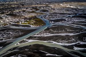 Aerial View in the Fall, Thjorsa River, Iceland by Ragnar Th Sigurdsson