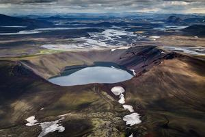 Aerial View of Blahylur Crater Lake, Landmannalaugar, Central Highlands, Iceland by Ragnar Th Sigurdsson
