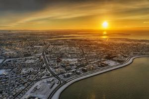 Aerial View of Reykjavik in the Winter at Sunset, Iceland by Ragnar Th Sigurdsson