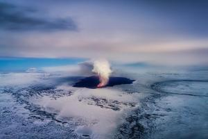 Aerial View of the Volcano Eruption at Holuhraun, Bardarbunga Volcano, Iceland by Ragnar Th Sigurdsson