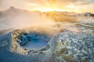 Landscape of Geothermal Hot Springs, Mud Pots and Fumaroles, Namaskard by Lake Myvatn, Iceland by Ragnar Th Sigurdsson
