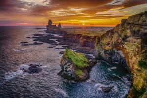Londrangar Sea Stacks and the Thufubjarg Cliffs. Iceland by Ragnar Th Sigurdsson