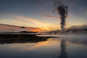 Steam and Foggy Landscape by Power Plant, Lake Myvatn Area, Northern Iceland by Ragnar Th Sigurdsson
