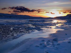 Sunset and Ice Crystals in the Water, Holtavorduheidi, Iceland by Ragnar Th Sigurdsson