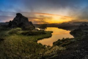 Sunset over Lake Myvatn, Northern Iceland by Ragnar Th Sigurdsson