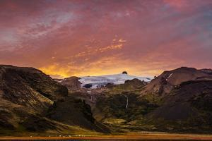 Sunset over Stiarjokull Glacier with Stigarfoss Waterfalls, Iceland by Ragnar Th Sigurdsson