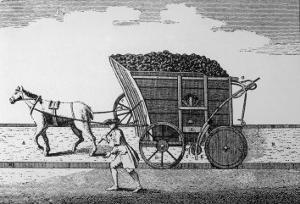 Rail:Pre-Steam Horse-Drawn Coal Wagon on Rails