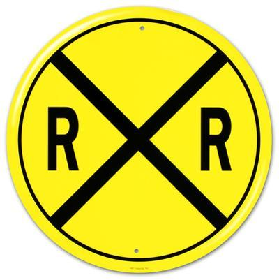 Railroad Crossing RR X-ing Round
