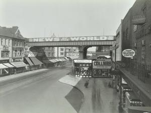 Railway Bridge and Advertising over the Brixton Road, Lambeth, London, 1938