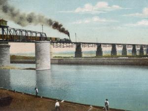 Railway Train Rattles Over the Impressively Long Panhandle Bridge at Louisville Kentucky