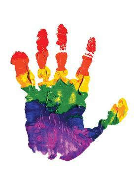 Rainbow Hand Imprint in Oil