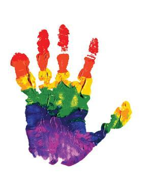 Rainbow Hand Imprint in Oil