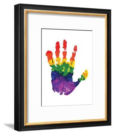 Rainbow Hand Imprint in Oil--Framed Art Print