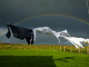 Rainbow, Stormy Sky and Clothes Line, Bunmahon, County Waterford, Ireland