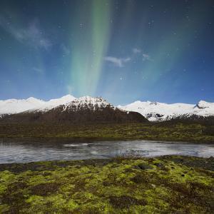 Aurora Borealis, Hafrafell, Skaftafell, South Iceland, Iceland by Rainer Mirau