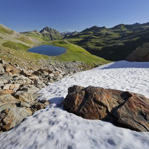 Austria, Tyrol, Bieltal (Valley), VallŸla, Bicycle Lake, Snowy Field by Rainer Mirau