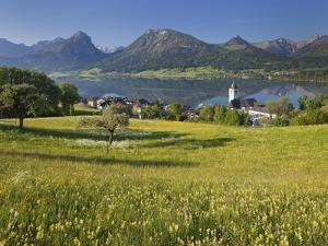 Austria, Upper Austria, Saint Wolfgang, Lake Wolfgangsee, Steeple by Rainer Mirau