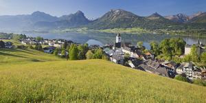Austria, Upper Austria, St. Wolfgang, Lake Wolfgangsee, Steeple by Rainer Mirau