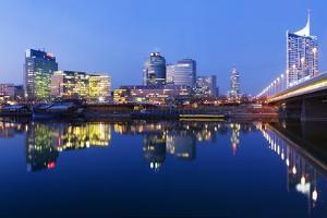 Austria, Vienna, Donau-City, Donau-City, City View, Evening-Mood, Danube, Panorama by Rainer Mirau