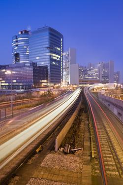Austria, Vienna, Donau-City, Donau-City, City View, Evening-Mood, Light-Tracks, Streets by Rainer Mirau