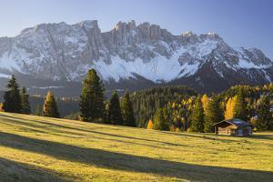 Autumnal Alp in Front of the Mountain Latemar, Kšlbleggiesen, South Tyrol by Rainer Mirau