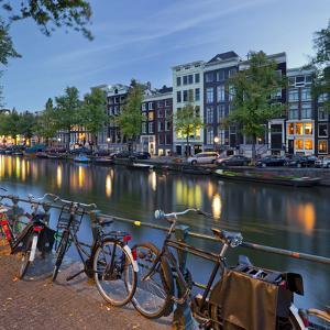 Bicycles, Houses Near the Keizersgracht, Amsterdam, the Netherlands by Rainer Mirau