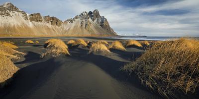Black Sand, Kambhorn (Mountain), Stokksnes (Headland), Hornsvik (Lake), East Iceland, Iceland