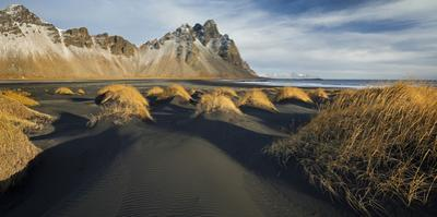 Black Sand, Kambhorn (Mountain), Stokksnes (Headland), Hornsvik (Lake), East Iceland, Iceland by Rainer Mirau