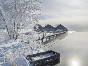 Boathouse at the Kochelsee, Tolzer Country, Bavaria, Germany by Rainer Mirau