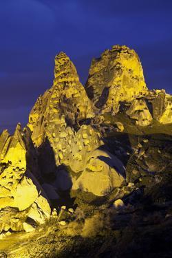 Castle Rocks of Uchisar at Night, Cappadocia, Anatolia, Turkey by Rainer Mirau